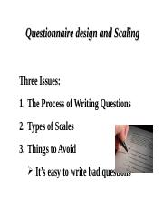 Lecture _8 Questionnaire design and Scaling