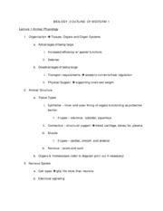 BIOLOGY  2 OUTLINE OF MIDTERM 1