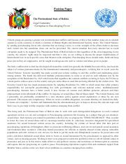 Position Paper- The Plurinational State of Bolivia
