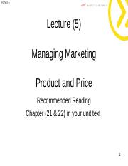 Lecture 5 -  Marketing Product and Price stu.ppt