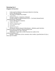Marketing Test 3 Study Guide