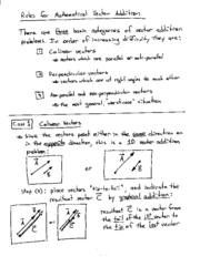 Physics notes  Vector Addition