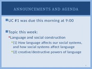 Lecture #2 Language & Social Construction