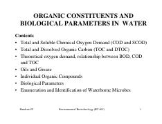 BT 405_ORGANIC CONSTITUENTS AND BIOLOGICAL PARAMETERS