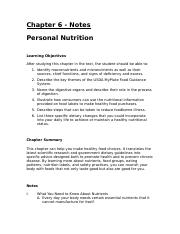 Chapter 6 - Personal Nutrition - Notes