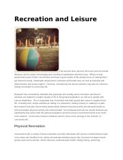 Recreation and Leisure.docx
