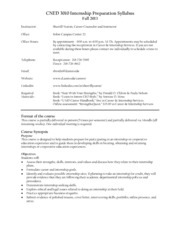 Internship preparation syllabus