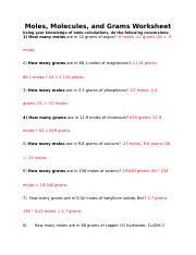 Moles.docx - Moles Molecules and Grams Worksheet Using your ...