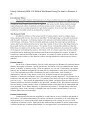 essay on biblical worldview