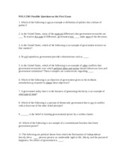 POLS 2301 Possible Questions on the First Exam