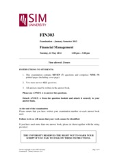 FIN 303 Financial Management Exam Paper 2012 January Semester