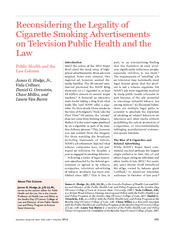 hodge JG, jr (2013) reconsidering the legality of cigarette smoking advertisements of television pub