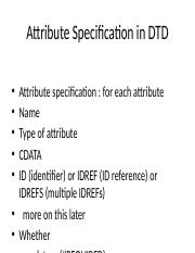 Attribute Specification in DTD