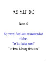 Lecture 9 Notes - Lorenz on fundamentals of ethology