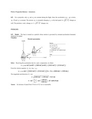 PH211 Projectile Motion - Solutions