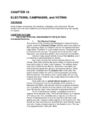 Chapter 10- Elections Campaigns and Voting Outline0