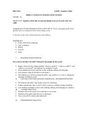 2nd RED 3012 DIRECT EXPLICIT INSTRUCTION LESSON PLAN