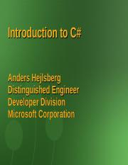 Introduction to Csharp