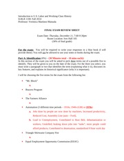 Final Exam Review Sheet LH Fall 2014