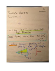 Pre-Calculus 11 Double and Half Angle Formulas Notes