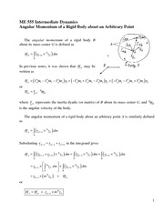 Angular Momentum of a Rigid Body about an Arbitrary Point Review