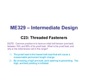 Class 23 - Threaded Fasteners