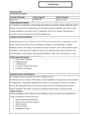 Markado Tozay Natural Disaster News Item Summary Assignment