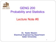 probability and statistics Lecture-6