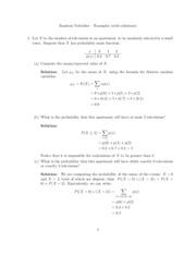 Random Variables Example Problems Solutions
