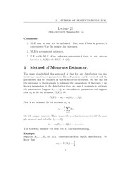 Lecture 21,22 - Moments & Interval Estimators