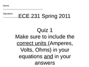 ECE 231 Quiz 1A Solution Set