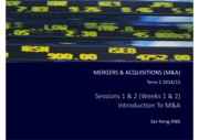 M&A Sessions 1 & 2 M&A Introduction