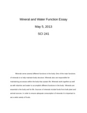 Mineral and Water Function Essay