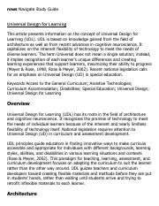 Universal Design for Learning Research Paper Starter - eNotes