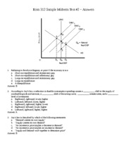 Econ 312 Sample Midterm Questions #2 - Answers