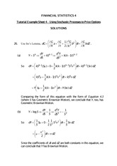 Answers to Tutorial on Using Stochastic Processes to Price Options (Solutions)