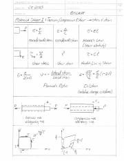 Formula Sheet 1- Stress and Strain