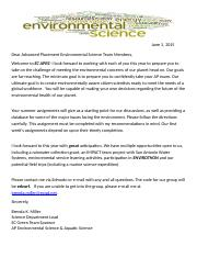 Environmental Science AP Summer Assignment 2015 and Letter.doc
