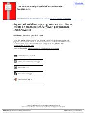 Organizational diversity programs across cultures effects on absenteeism, turnover, performance and