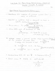 ECE 201 - Handnotes - Lecture 3 - Resistance, Ohms Law, Parallel and Series, and Sources - F11