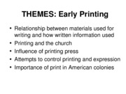 Themes Early printing