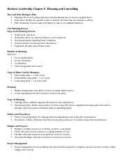 Business Leadership Chapter 8 NOTES