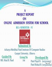 ONLINE   ADMISSION  SYSTEM  FOR  SCHOOL    Patel Payal B.Patel Rinkal B.
