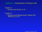 PHY 101 Lecture 3
