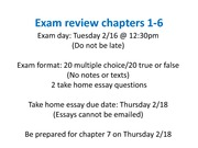 Exam review chapters 1-6 spring 2010