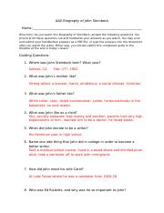 A&E Biography of John Steinbeck Guiding Questions Answer Key