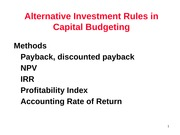 5) NPV and other Investment Criteria - Slide