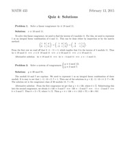 Quiz 4 Solution on Applied Algebra Spring 2015