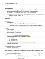 11-28  Class Notes CS 107