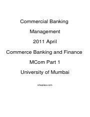 (www.entrance-exam.net)-Commerce Banking and Finance MCom Part 1-Commercial Banking Management Sampl